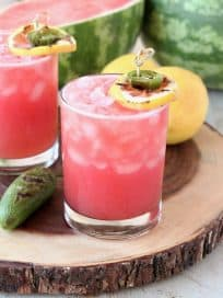 Watermelon Margarita with Grilled Jalapenos and Lemon