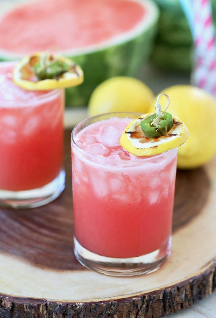 Watermelon Margarita with Grilled Jalapenos and Lemons
