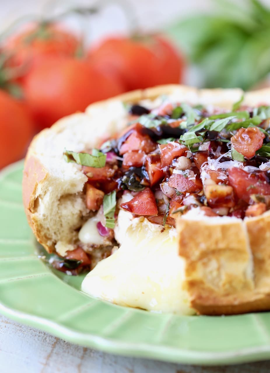 Baked Brie in Sourdough Bread Bowl with Tomato Basil Bruschetta