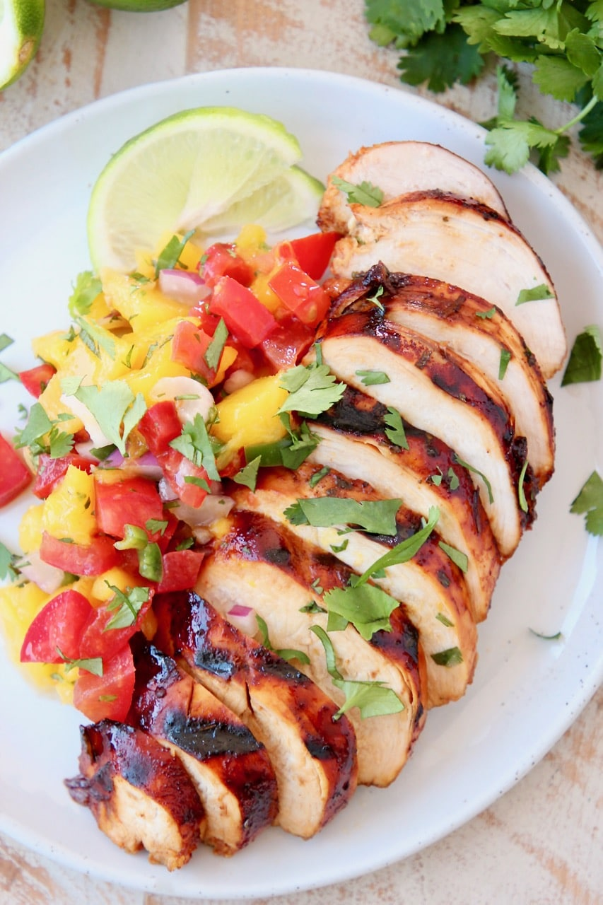 Grilled Chicken topped with Mango Salsa and Fresh Cilantro