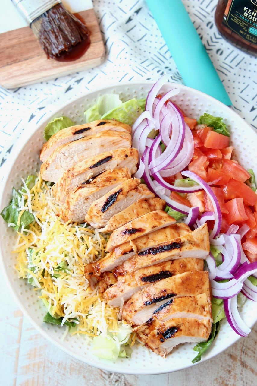 Sous Vide BBQ Chicken Salad with Cheese, Onions and Tomatoes
