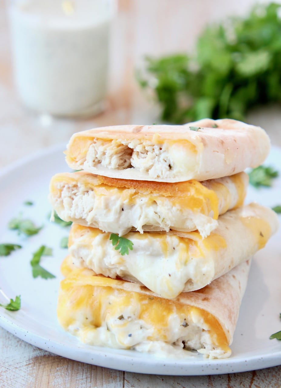 Gluten Free Cheesy Chicken Ranch Wraps with Cilantro and Ranch Dressing in Mason Jar
