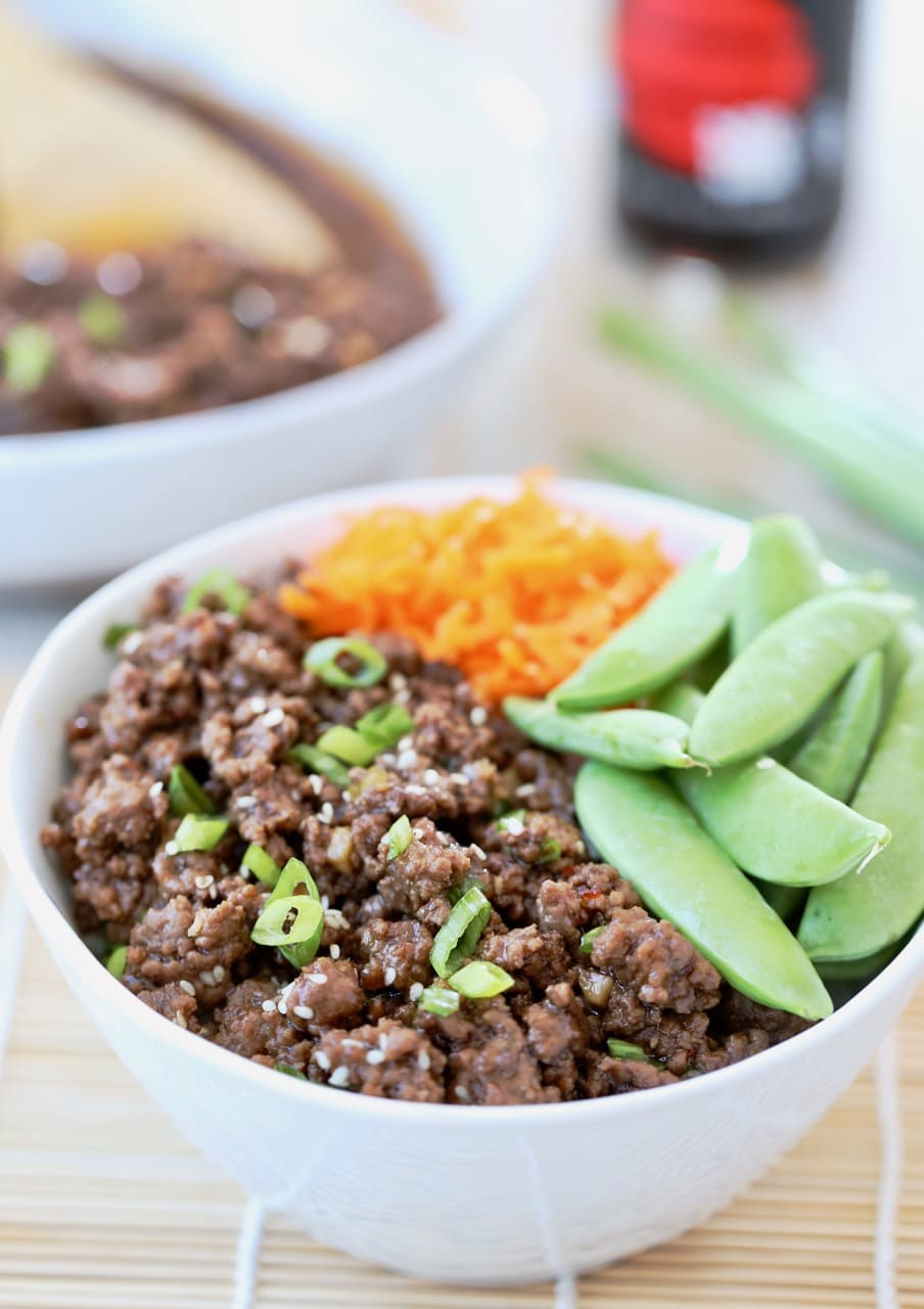 Korean BBQ Beef Bowl with Sugar Snap Peas and Carrots