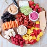 Low Calorie Charcuterie Board with Berries, Veggies, Hummus, Cheeses and Meats