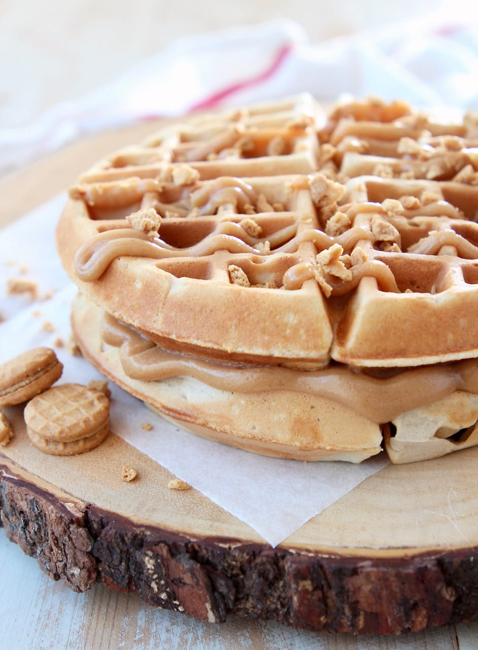 Peanut Butter Waffles with Creamy Peanut Butter Filling and Nutter Butter Cookies