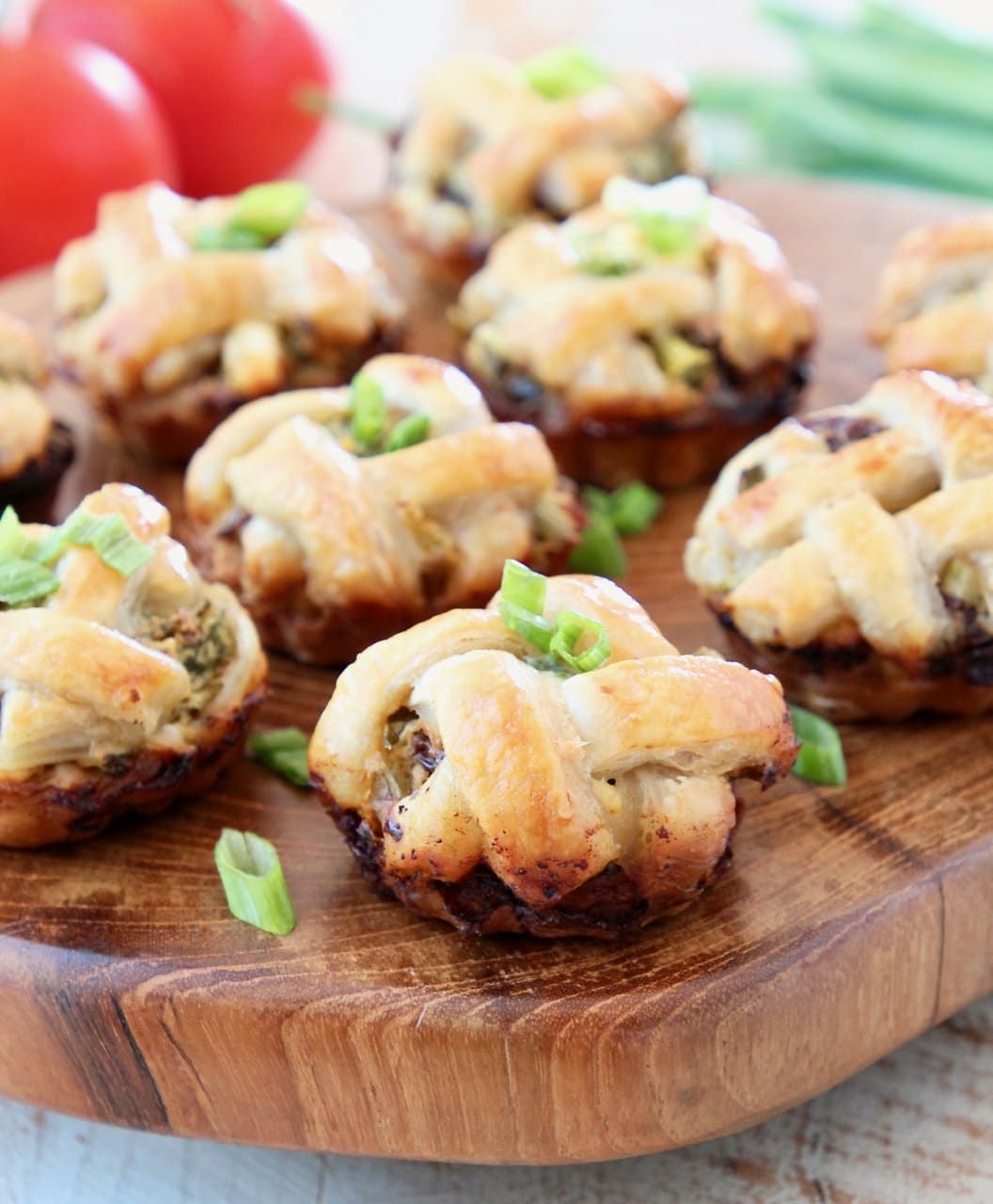 Spinach Feta Mini Pies with Puff Pastry Criss Cross Crust