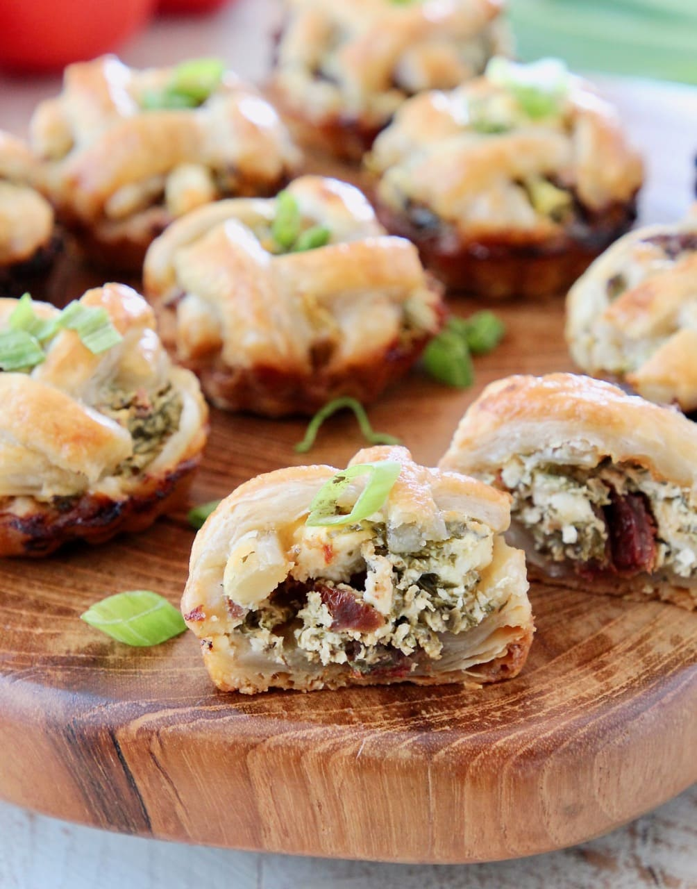 Mini Pies filled with Spinach, Feta Cheese and Sun Dried Tomatoes