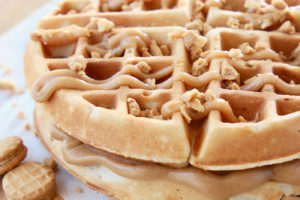 Peanut Butter Waffles with Creamy Peanut Butter Filling and Peanut Butter Syrup with Nutter Butter Cookies