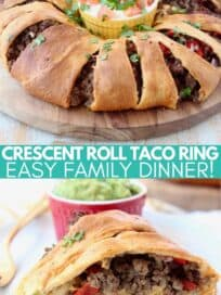 Crescent roll wrapped ground beef taco ring on wood serving board and sliced on plate