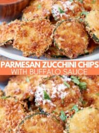 crispy zucchini chips piled up on plate with parmesan cheese sprinkled on top