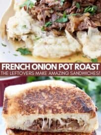 shredded pot roast on mashed potatoes and in a grilled cheese sandwich