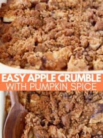 Apple crumble in baking dish with wooden spoon