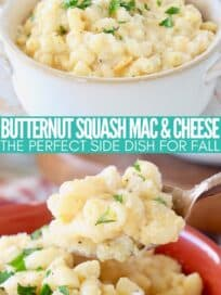 butternut squash mac and cheese in bowl with fork