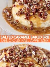 Baked brie on plate covered in salted caramel sauce and pecans