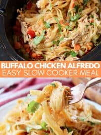 chicken alfredo pasta in crock pot and on plate with fork