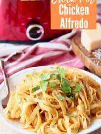buffalo chicken alfredo pasta on plate with fork