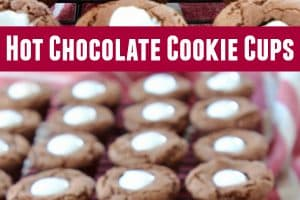 Hot chocolate cookie cups filled with marshmallow creme