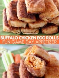 egg rolls stacked up on plate with roll sliced open