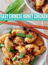 cooked chicken pieces covered in honey sauce in bowl with chopsticks and rice