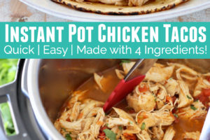 Pressure cooker of shredded chicken and chicken tacos on a plate