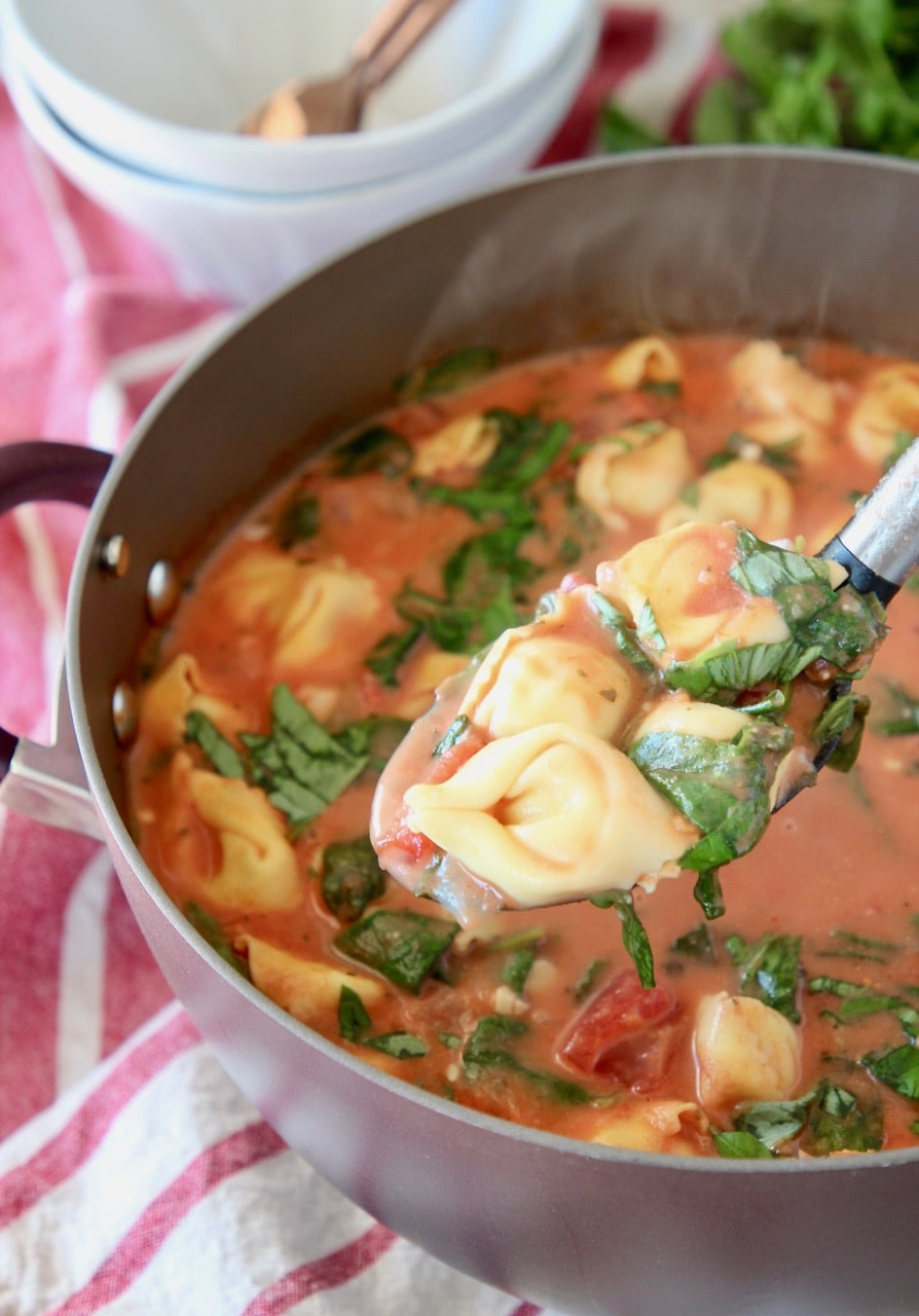 Tortellini soup in pot with spoonful of soup coming out of the pot