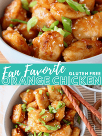 Image of Chinese orange chicken in bowl with chopsticks with text overlay
