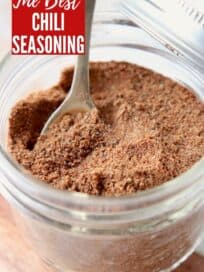 chili spice mix in mason jar with spoon