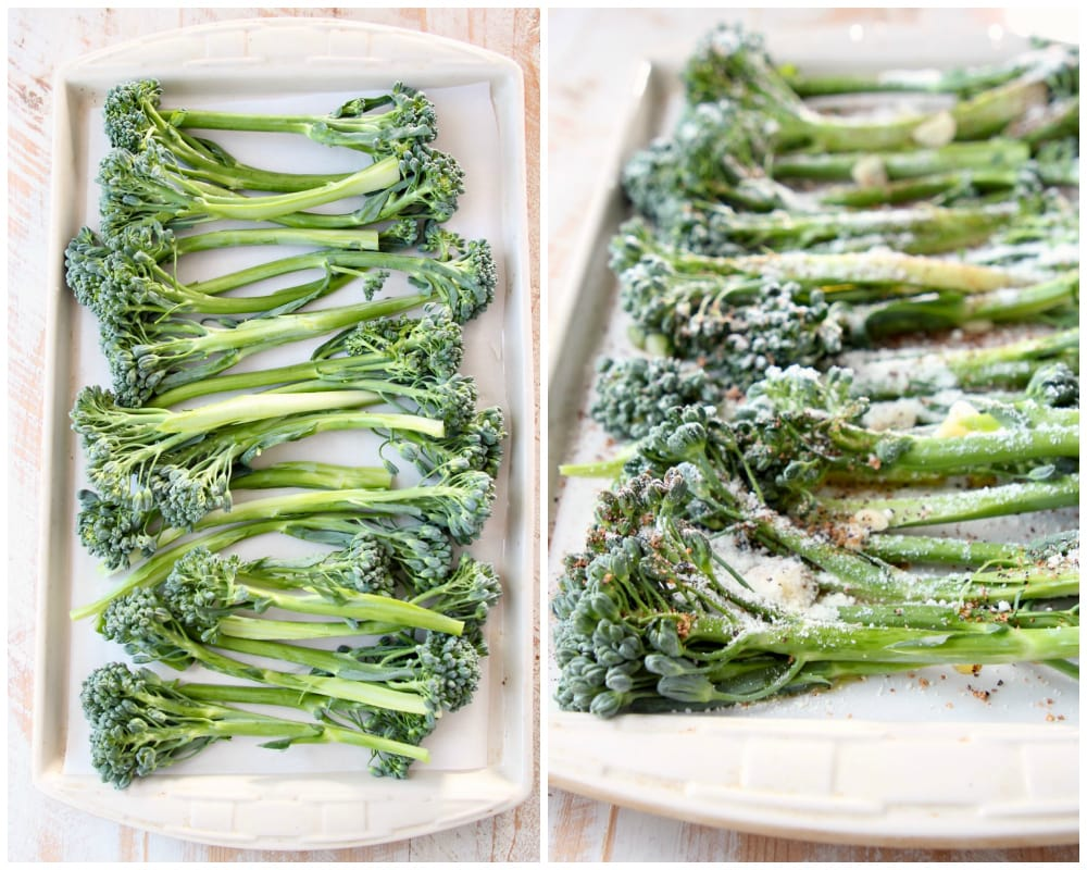 Collage of roasted broccolini recipe instruction images