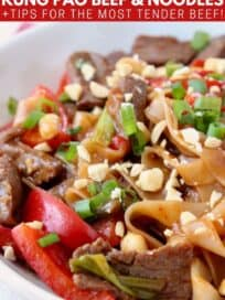 kung pao beef and noodles in bowl with red peppers and green onions