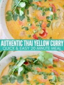 yellow curry in bowl with cilantro and chopsticks