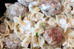 Swedish meatballs and egg noodles in a slow cooker