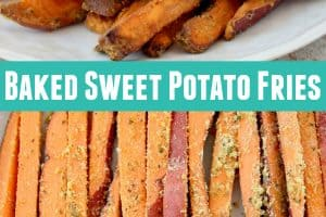 baked sweet potato fries on plate and baking sheet