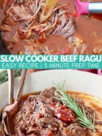 shredded beef ragu in slow cooker and in bowl with polenta
