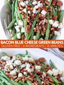Fresh green beans in bowl topped with crumbled pecans, bacon and blue cheese