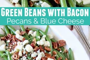 Fresh cooked green beans in bowl with crumbled bacon, pecans and blue cheese