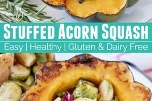 Roasted acorn squash halves stuffed with brussels sprouts and cranberries