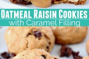 Oatmeal raisin cookies on plate with cookie cut in half with caramel filling