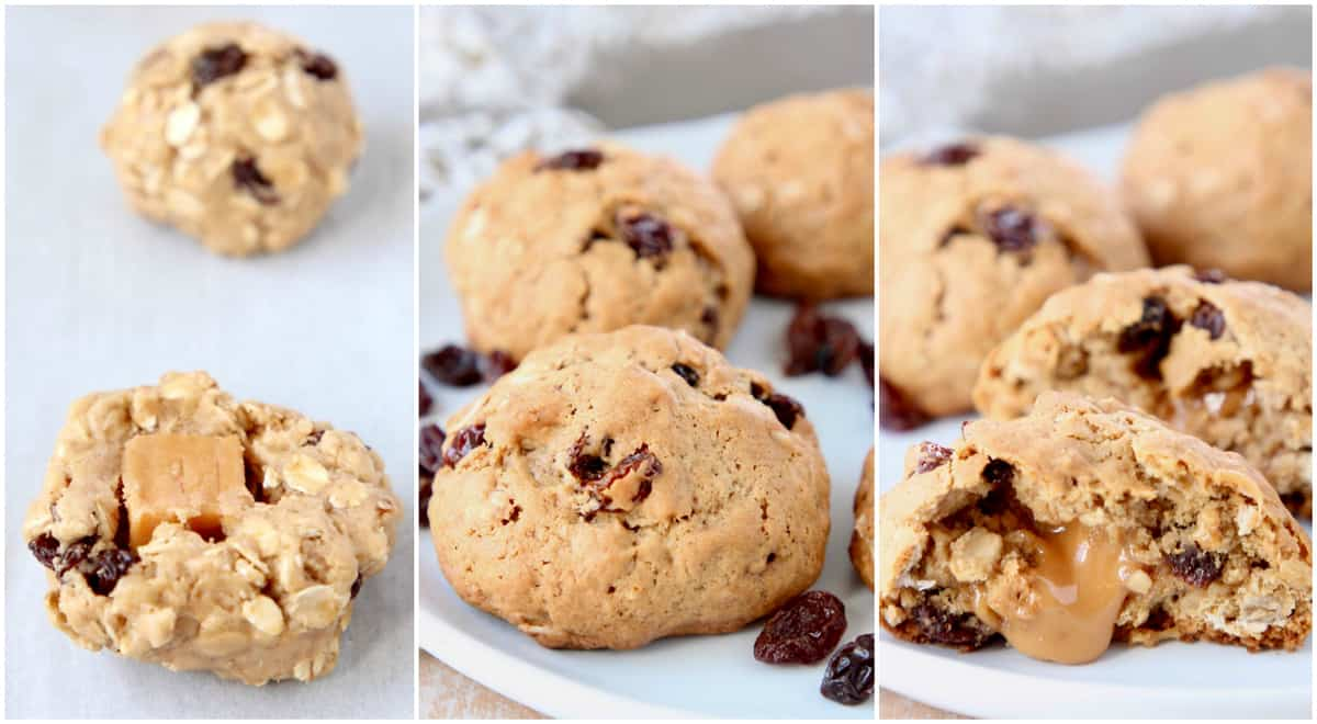 Collage of images showing how to make caramel filled oatmeal raisin cookies