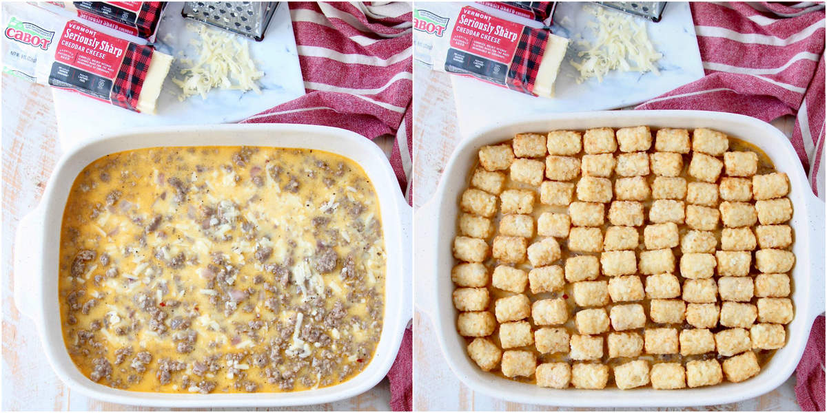 Instructional images for how to make a Tater Tot Breakfast Casserole