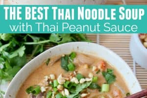 Thai noodle soup in bowl with chopsticks and green onions