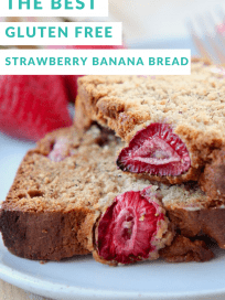 Slices of strawberry banana bread stacked up