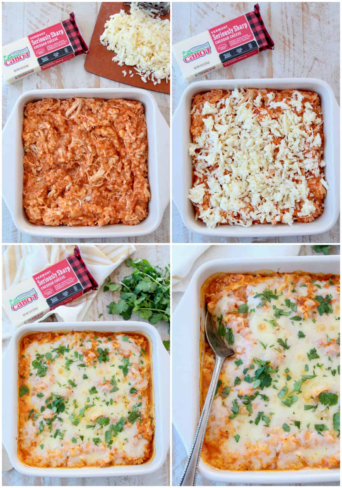 Collage of images of a buffalo chicken cauliflower casserole