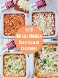 Collage of images showing how to make a buffalo chicken cauliflower casserole
