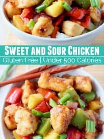sweet and sour chicken with peppers and pineapple in bowl