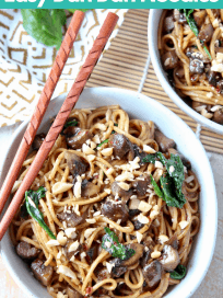 Image of dan dan noodles in bowl with text overlay