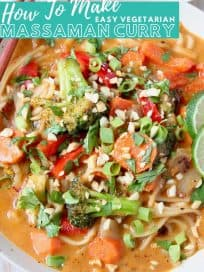 Overhead image of massaman curry vegetables and noodles in bowl with text overlay