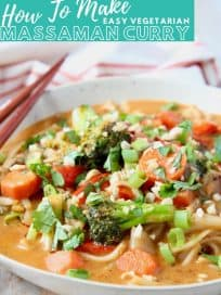 Image of vegetable massaman curry with noodles in bowl, with text overlay