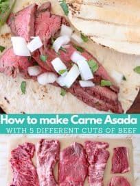 Image with carne asada taco and image with beef cuts on butcher paper with text overlay