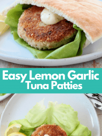 Tuna cakes in pita bread and on a leaf of lettuce