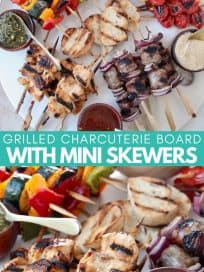 Grilled skewers on charcuterie platter with bowls of sauce